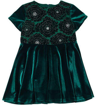 Florence Eiseman Stretch Velvet Lace-Overlay Short-Sleeve Dress, Size 4-6X
