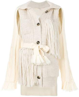 Maison Margiela deconstructed fringed cardigan
