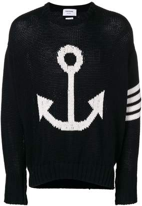 Thom Browne 4-Bar Anchor Icon Intarsia Pullover