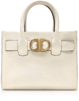 Tory Burch Gemini Link New Ivory Leather Small Tote Bag