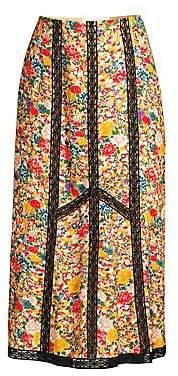 Etro Women's Micro Floral Lace Midi Skirt