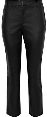 Vince Cropped Leather Slim-Leg Pants