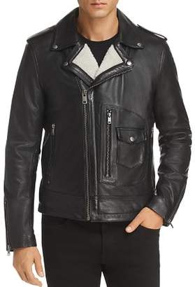 Karl Lagerfeld Paris Faux Shearling-Lined Leather Moto Jacket