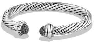 David Yurman Cable Classic Bracelet With Black Diamonds, 7Mm