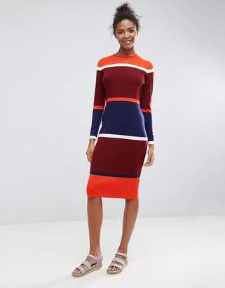 ASOS Ribbed Midi Dress with Blocked Stripes $51 thestylecure.com