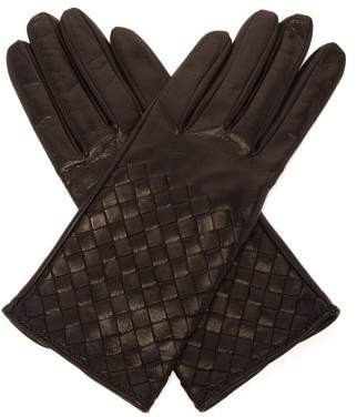 Bottega Veneta Intrecciato Leather Gloves - Womens - Black