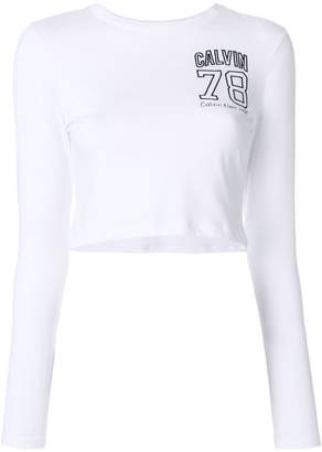 Calvin Klein Jeans cropped logo embroidered top