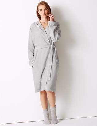 Marks and Spencer Cotton Rich Hooded Dressing Gown with Belt