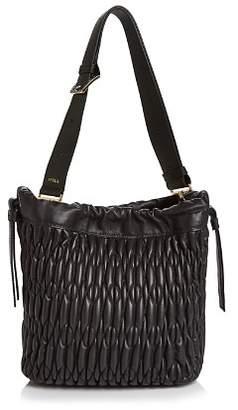 Furla Caos Drawstring Small Leather Shoulder Bag