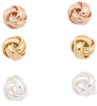 Sterling Silver Love Knot Earring Trio Set