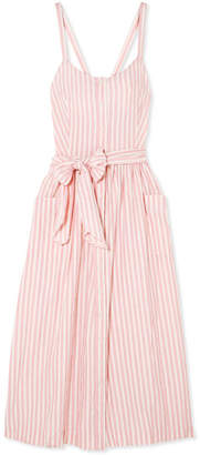 The Great The Carriage Striped Cotton Midi Dress - Pink