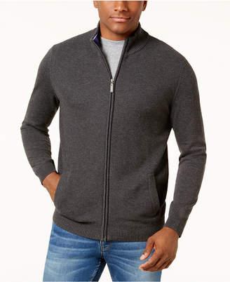 Club Room Men's Honeycomb Full-Zip Pima Cotton Sweater