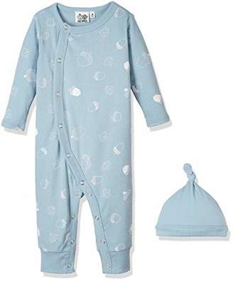 Silly Apples Baby Boys or Girls Cotton Blend 2-Piece Long-Sleeve Jumpsuit Romper Onesies and Hat Outfit Set (NB)