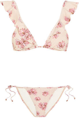 Eberjey Flying Lotus Ruffled Floral-print Triangle Bikini - Pastel pink