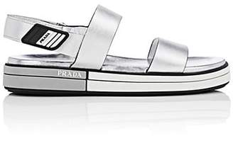 Prada Women's Leather Double-Band Slingback Sandals - Silver