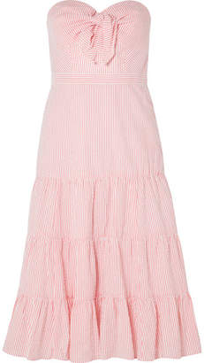 J.Crew Jackaroo Strapless Striped Cotton-seersucker Dress - Coral