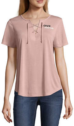 Hybrid Tees Love More Lace Up Tee - Junior