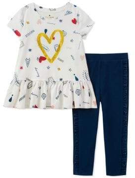 Kate Spade Little Girl's Two-Piece Doodle Cotton Top and Leggings Set