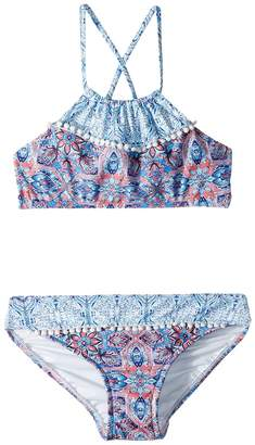 Seafolly Boho Tile Ruched Neck Tankini Set Girl's Swimwear Sets