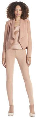Alice + Olivia Rose Tan Harvey Suede Open Front Jacket