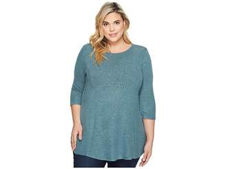 Bobeau B Collection by Plus Size Brushed Babydoll Hemline Knit Women's Sweater