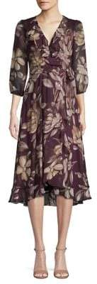 Gabby Skye Ruffled Floral Chiffon Dress
