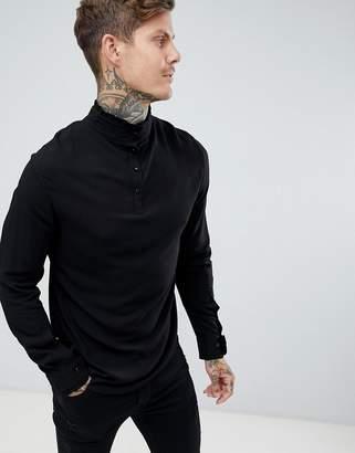 Asos Regular Fit Viscose Shirt With Frill Neck