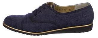 Salvatore Ferragamo Denim Round-Toe Oxfords