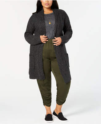 Style&Co. Style & Co Plus Size Tweed Sweater Coat