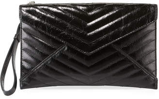 Rebecca Minkoff Leo Quilted Leather Envelope Wristlet Pouch Bag