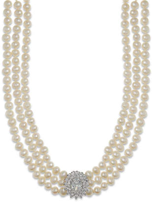 Arabella Cultured Freshwater Pearl (5mm) and Swarovski Zirconia Necklace in Sterling Silver