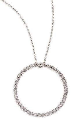 Roberto Coin 18k White Large Diamond Circle Pendant Necklace