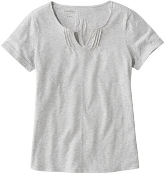 L.L. Bean L.L.Bean Women's Organic Cotton Tee, Splitneck Short-Sleeve