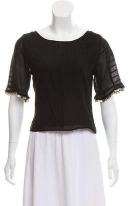 LoveShackFancy Woven Short Sleeve Top