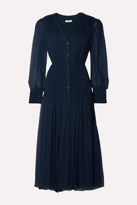 Jason Wu Shirred Crinkled Silk-chiffon Midi Dress - Midnight blue