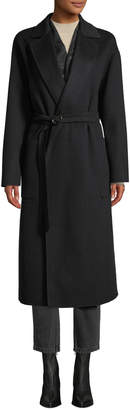 Agnona Double-faced Cashmere Mid-Length Robe Coat w/ Sequin Inlay