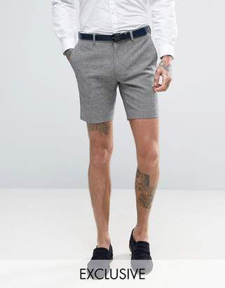 ONLY & SONS Skinny Wedding Smart Shorts In Summer Dogstooth
