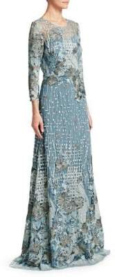 David Meister Embroidered A-line Gown