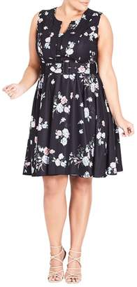 City Chic Lady Blooms Fit & Flare Dress