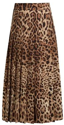 Dolce & Gabbana High Rise Pleated Wool Blend Midi Skirt - Womens - Leopard