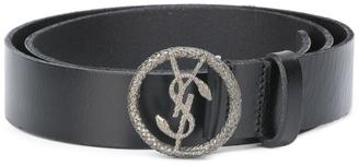 Saint Laurent Monogram serpent buckle belt $375 thestylecure.com