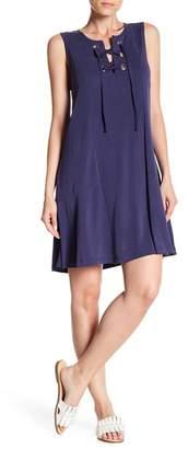 1 STATE 1.State Sleeveless Lace Up Shift Dress