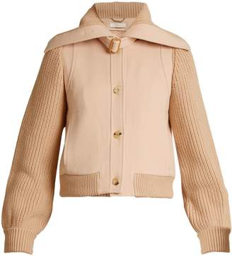 Chloé Contrast knit-sleeve wool-twill jacket