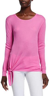 Neiman Marcus Super Fine Silk/Cashmere Crewneck Side-Tie Long-Sleeve Sweater