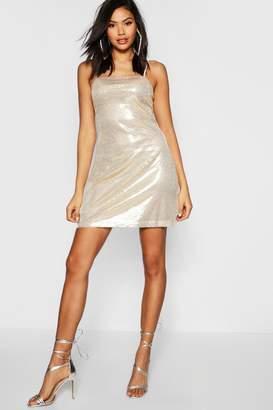 boohoo Tall Sequin Square Neck Mini Bodycon Dress