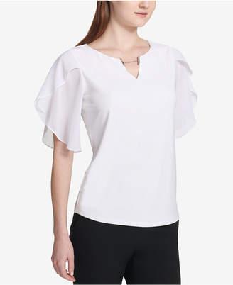 Calvin Klein Flutter-Sleeve Split-Neck Blouse