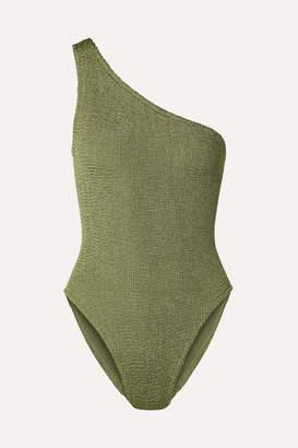 Hunza G Nancy One-shoulder Seersucker Swimsuit - Army green