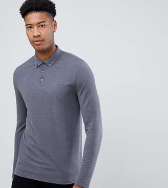 Asos Design DESIGN Tall long sleeve pique polo with button down collar in gray
