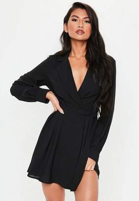 Missguided Black Belted Waist Pleated Skater Dress