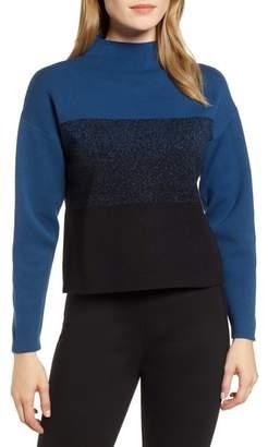 Anne Klein Mock Neck Colorblock Sweater